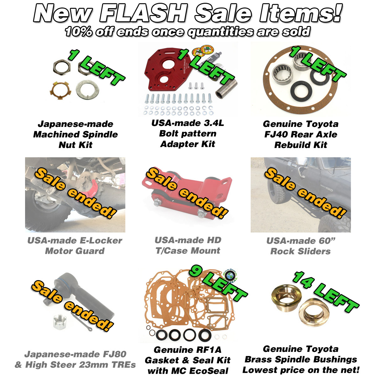 Few items remaining on our Mid September FLASH Sale