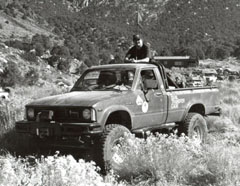 Marlin with his Crawler Truck, Panamint City, CA, circa 1994