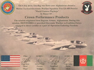 Military thank you letter to Crown Performance Products